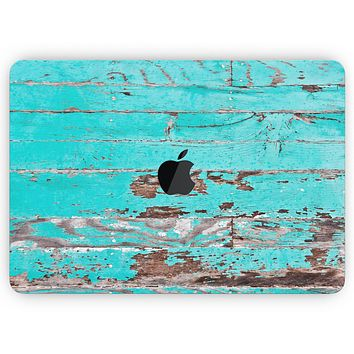 """Turquoise Chipped Paint on Wood - Skin Decal Wrap Kit Compatible with the Apple MacBook Pro, Pro with Touch Bar or Air (11"""", 12"""", 13"""", 15"""" & 16"""" - All Versions Available)"""