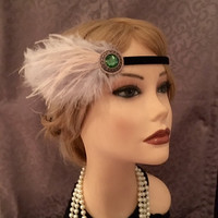 20s Gatsby Style Green Pale Blue Ostrich Feather Black Velvet Flapper Headband 1920's Inspired Costume Headpiece Art Deco 1920s Pewter (694)