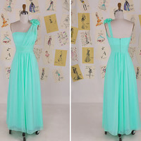 Mint Green One Shoulder Strapless Flower Long Bridesmaid Dress/Wedding Party Dress/Maid of Honor Dress/Bridesmaid Dress  DAF0003