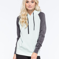 Full Tilt Essential Colorblock Womens Pullover Hoodie Mint  In Sizes