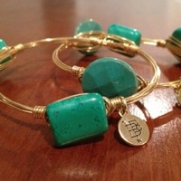 Bourbon and Boweties Green Stone Bangle