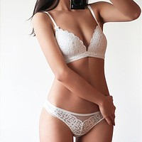 Sexy Lace 3/4 Cup Bra Sets For Women Wireless Lingerie Set