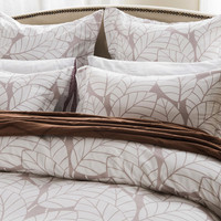 5pc Beige Leaf Design Duvet Cover Set Style