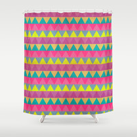 Colored Triangles Shower Curtain by Louise Machado