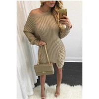 Loose Knit Irregular Holes Sweater Dress