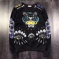 KENZO New fashion embroidery letter tiger couple long sleeve top sweater Black