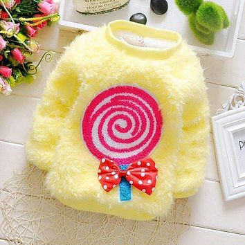 2015 New cheapest high quality beatiful newborn baby girl's cute candy colors sweater baby clothes for girl DS034