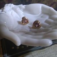 Fancifully Faceted Vintage Gold Tone Halo Heart Shaped Pink Crystal All Occasion Pale Pink Clip Back Earrings