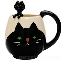 BLACK CAT MUG & SPOON SET