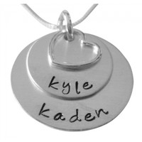 Hand Stamped Stacked Necklace with Open Heart Charm