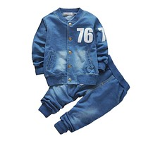Baby boys clothing set boys suits denim Jeans coat 2 PCs sets toddler kids casual clothes suit children clothing set