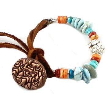 Spiny Oyster, Turquoise, Larimar & Howlite Leather Copper Bracelet