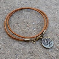 Wisdom - Greek Leather Wrap Bracelet Tree Of Life Charm