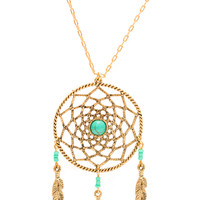 Dream Catcher Necklace - One Size / Gold