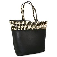 Gold Tone Studded Fashion Tote Bag Purse Black