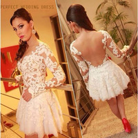 2016 Short Prom Dress Full Sleeve Scalloped Applique White Ivory Lace Mini Cocktail Gowns Sheer Tull Back See Through Real Photo
