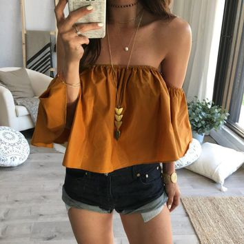 Casual Off The Shoulder Slim Ruffle Bodycon Blouse