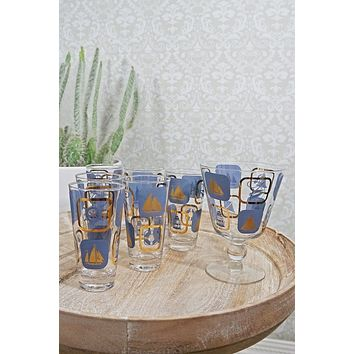 Vintage Nautical  Glass Barware Set