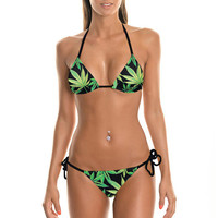 Halter Leaves Print Triangle Bikini Set