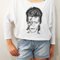 David Bowie Shirt Rock Tee Shirt Bat Sleeve Shirt Crop Long Sleeve Shirt Oversized Shirt Sweatshirt Women Shirt Women T-Shirt - FREE SIZE