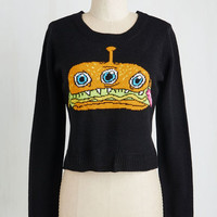 Quirky Short Length Long Sleeve Horror d'Oeuvres Sweater
