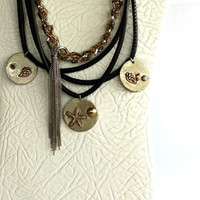 Metalwork , Gothic Jewelry , Necklace , Black Leather Necklace , Chain Necklace , Mothers Day Gift,