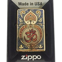 Zippo Custom Lighter - Hindu Om Aum Religious Spiritual Logo Fuzion - High Polish Brass