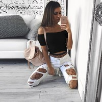 NATTEMAID Sexy off shoulder knitted top tees Women slash neck short sleeve bustier crop top Christmas party white tops female