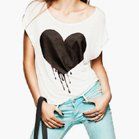 White Black Heart Print Cap Sleeve T-Shirt