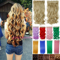 "Long Clip in Hair Extension half full head 100% As real natural hair Extentions 24"" Curly US Local Warehhouse Fast Free Ship T92"