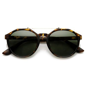 European Fashion Dapper Crossbar Keyhole P3 Rounded Sunglasses 9299