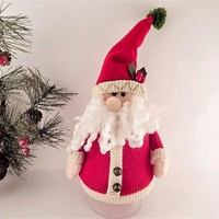 Santa Claus Snack Jar Hand Crafted Knit Fabric Figurine Covers a 1 Quart Plastic Jar Candy or Baked Treats Gift Container FREE SHIPPING
