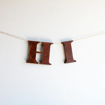 Vintage Rusty Letters, H I, To Hang, Home Decor