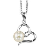 Sterling silver heart with pearl pendant