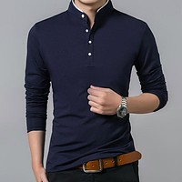 High Quality Men Polo Shirt Mens Long Sleeve Solid Polo Shirts Camisa Polos Masculina Casual cotton Plus size