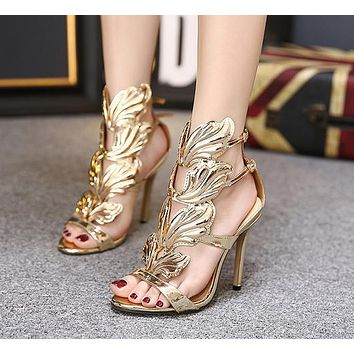 Summer new fashion women's metal wing stiletto super high heel toe sandals shoes