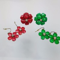 Floral Jewelry Flower Enamel Ring Earrings Set Choose Your Color Green / Magenta