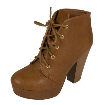 Soda Women's Agenda Lace Up Platform Ankle Bootie with Thick Heels in Tan Leatherette