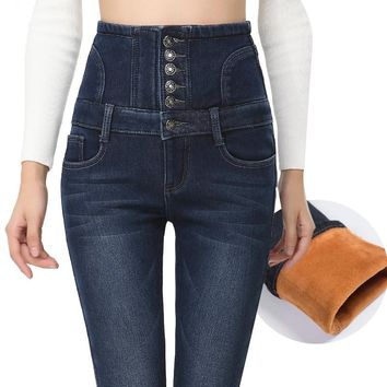 Fashion Tight Stretch Buttons High Waist Plus Velvet Pants Trousers Jeans