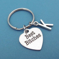 Personalized, Friendship, Keyring, Initial, Best, Friend, Keychain, Key, Chain, Best bitches, Key, Ring, Gift, Jewelry, Accessories