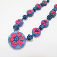 Handmade Polymer clay SET Necklace Earrings Bracelet Transparent Blue and Pink Cyclamen Decorated with Chinese KNOTS