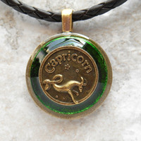 capricorn necklace: green - mens necklace - mens jewelry - astrology - boyfriend gift - zodiac - birthday gift - leather cord - unique gift