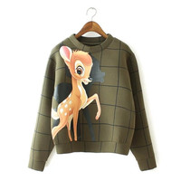 Army Green Plaid Deer Print Sweater