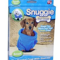 Snuggie for Dogs Blue Colored Fleece Blanket Coat with Sleeves - Small: Pet Supplies