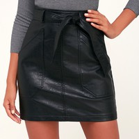 Trip to Tribeca Black Vegan Leather Belted Mini Skirt