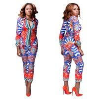 Striped Long Sleeve African Print Blazer and Pants