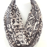 Tribal Scarf, Infinity Scarf, Printed scarf, Aztec Scarf, Spring Scarf
