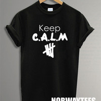 5 Seconds of Summer Shirt The Keep Calm Symbol Printed on Black and White t-Shirt For Men Or Women Size TS 97