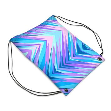 Blue Pink Abstract Eighties Drawstring PE Bag by The Photo Access