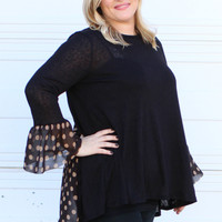 Can't Say No Tunic With Sheer Polka Dot Contrast ~ Black ~ Sizes 12-18